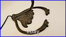 Antique Aurene Signed Lamp Shade 17 Tall Bronze Art Nouveau Lamp Leaves
