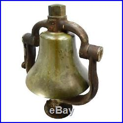Antique BRASS/BRONZE LOCOMOTIVE BELL with CRADLE YOKE CLAPPER & FINIAL Reading RR