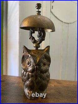 Antique BRASS OWL BELL Hotel Check-In General Store Counter Post Office Bell
