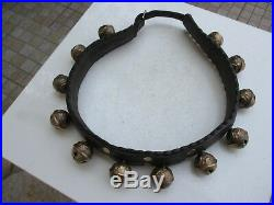 Antique Beautiful For Ceremonies Horse Leather Collar Ornate With 12 Brass Bell