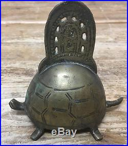 Antique Bell Animal Turtle RARE Figural Asian Etched Vintage Brass Super Cute