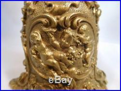 Antique Bell Bronze Brass Hand Dinner Table Cherubs FIGURE Goat Gargoyle Ornate