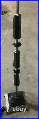 Antique Belle Epoch Art Nouveau Bridge Arm Floor Lamp Black Nickel Stepped Base