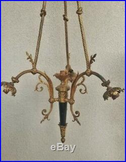 Antique Belle Epoche French Dore Bronze & Enamel Empire Chandelier For Refurbish