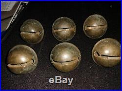Antique Bells Sleigh Jingle Brass Bells 1 1/2 Lot 6 Units Horse Harness Bells