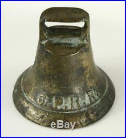 Antique Brass 19C Central Passenger Railroad CPRR Amerian Horse Car Metal Bell
