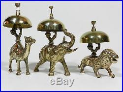 Antique Brass Bell Camel Elephant Lion Hotel Desk Service Bell