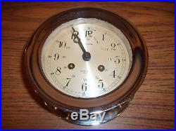 Antique Brass Biscayne Salem Ships Bell Clock 8-Day Jeweled German Mint withKey