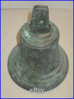 Antique Brass Bronze Ship Boat Yacht Sailor Bell 7.5 Inch Tall 6.75 Inch Wide