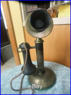 Antique Brass Candlestick Phone Western Electric Property Of American Bell