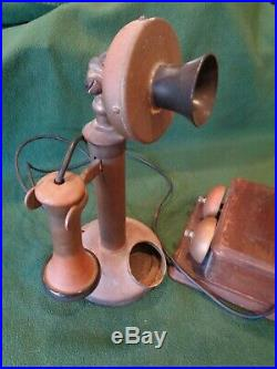 Antique Brass Candlestick Table Non-Rotary Table Telephone & Bell Ringer