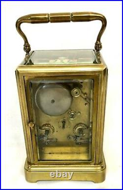 Antique Brass Carriage Clock STRIKING ON BELL HALL & CO KING STREET MANCHESTER