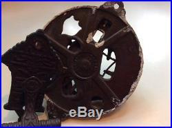 Antique Brass Door Bell Complete With Lever Pull Victorian 4.75 Diameter