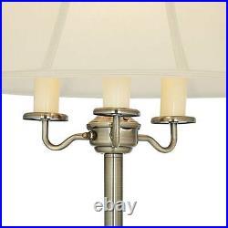 Antique Brass Floor Lamp Shabby Chic Off-White Bell Shade Living Room Reading