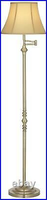 Antique Brass Floor Lamp Swing Arm Bell Lamp Shade For Living Room Reading