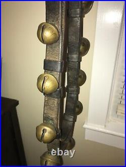 Antique Brass Graduated Horse Sleigh Jingle Bells 7+ ft Original Strap 23 Bells
