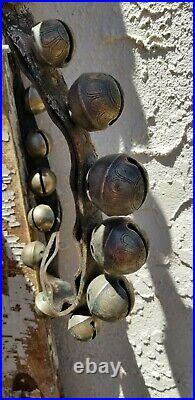Antique Brass Graduated Horse Sleigh Jingle Bells 85 Original Strap 33 Bells
