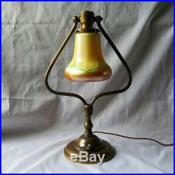 Antique Brass Harp Lamp-Quezal Pull Feather Art Glass Bell Shade Simple but So