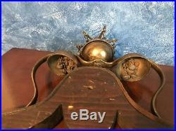 Antique Brass Horse Hames Shaft Sleigh Saddle Bells Tree Mount Harness Steampunk