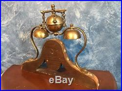 Antique Brass Horse Hames Shaft Sleigh Saddle Bells Triple Tree Mounted Harness