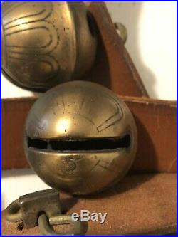 Antique Brass Horse Sleigh Bells 7.5 On Leather Strap Some Numbered Bells