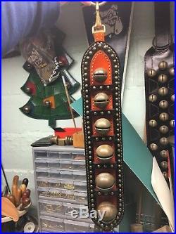 Antique Brass Horse Sleigh Bells Jingle Door Hanger Studded Brown Leather Strap