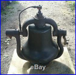 Antique Brass Howard Train Locomotive Bell And Cast Iron Cradle RR Collectible