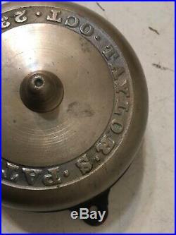 Antique Brass & Iron Door Bell Taylor's Patent Oct. 23, 1860 Civil War Era