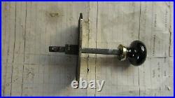 Antique Brass Mechanical Door Bell Pull Black China (Victorian butler maid)
