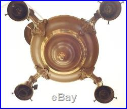 Antique Brass Pan Chandelier 4 Lights Bobeches Ceiling Fixture Switch Bell Deco