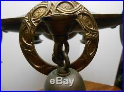 Antique Brass Pan Chandelier 5 Lights Bobeches Ceiling Fixture Ceiling Bell Deco