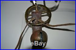 Antique Brass Petal Tulip Sleigh 21 Graduated Bells on 56 Leather Belt Strap