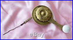 Antique Brass Porcelain Servants Bell Pull working with Chain and Wire