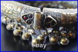 Antique Brass Repousse Moroccan Ankle Bracelet Dangle Bells/ Belly Dance