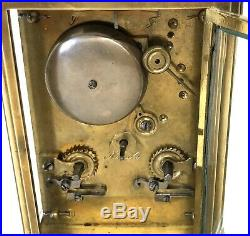 Antique Brass STRIKING ON BELL Carriage Clock HALL & CO MANCHESTER