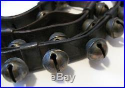 Antique Brass Sleigh Bells 40 Bells On Leather Strap Sound Beautiful