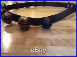 Antique Brass Sleigh Bells 9 Bells WEB Running Horse