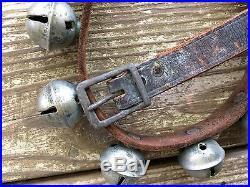 Antique Brass Sleigh Bells Leather Horse Harness 42 Bells 7 FT Length