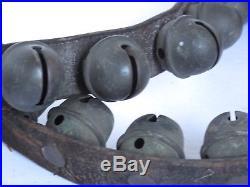 Antique Brass Sleigh Bells Leather Strap Great Sound 41 Bells