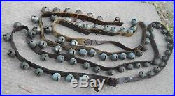 Antique Brass Sleigh Bells Old Leather Belts Straps Primitive Country Christmas