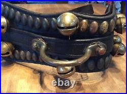 Antique Brass Sleigh Bells On Horse Breast Collar 10 Bells