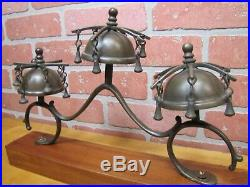 Antique Brass Sleigh Wagon Carriage Country Store Door Bells Beautiful Jingle