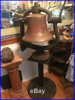 Antique Brass Train Locomotive Bell And Cast Iron Cradle RR Collectible 16 1/2