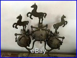Antique Brass Triple Horse Bells Carriage Harness Sleigh Bells Rare Victorian