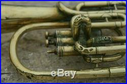 Antique Brass Tuba Couesnon Paris 1900s Length 21.3inch Diam Bell 7.3inch