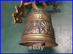 Antique Brass Wall Mount Bell Figural Angel VOCEM MEAM AUDIT QUI ME TANGIT