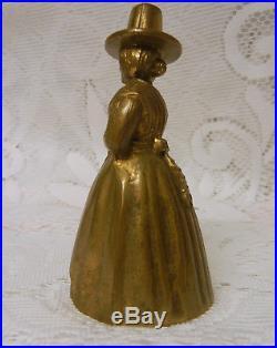 Antique Brass Welsh Milk Maiden Carrying a Milk Lady Figural Tea Bell