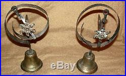 Antique Brass & Wrought Iron Door Mounted Bell 2 Pieces American