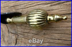 Antique Brass and Cast Iron Mechanical Door Bell Pull (victorian, butlers maid)