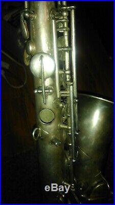 Antique CG Conn LTD Elkhart Saxophone Sax 1119954 USA with Case silver/ gold bell